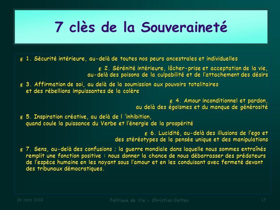 28 mars 2003 Politique de Vie - Christian Cotten 17 7 clès de la Souveraineté 4 1.