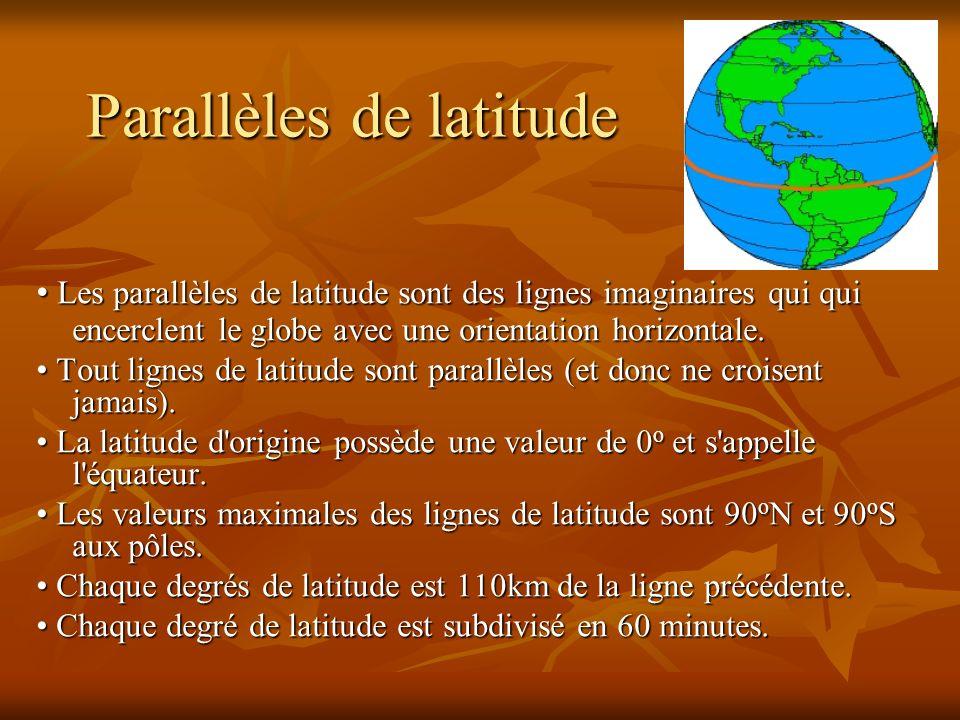 Parallèles de latitude Les parallèles de latitude sont des lignes imaginaires qui qui encerclent le globe avec une orientation horizontale. Les parall