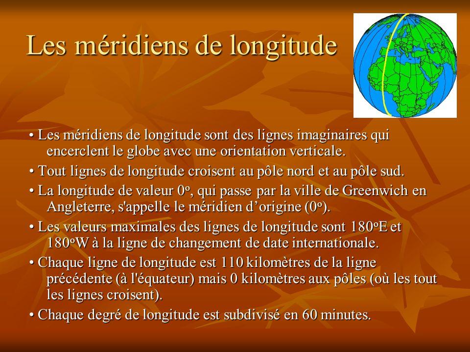 Les méridiens de longitude Les méridiens de longitude sont des lignes imaginaires qui encerclent le globe avec une orientation verticale. Les méridien