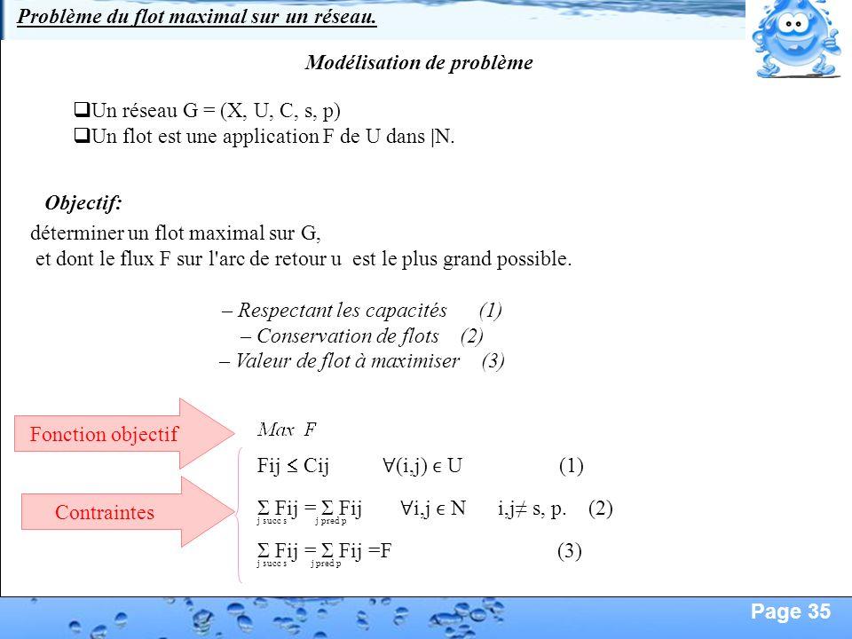 Page 35 Définition du problème de flot maximal sur un réseau 1)Définition d'un réseau Un graphe G = (X, U) est un réseau si : -il est connexe -il poss