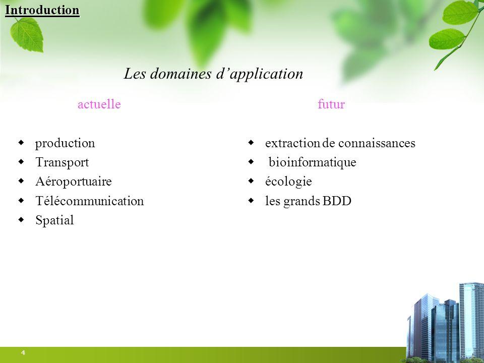 4 actuelle production Transport Aéroportuaire Télécommunication Spatial futur extraction de connaissances bioinformatique écologie les grands BDD Les