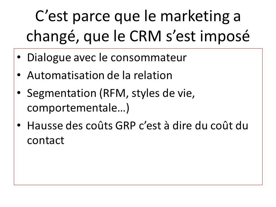 Cest parce que le marketing a changé, que le CRM sest imposé Dialogue avec le consommateur Automatisation de la relation Segmentation (RFM, styles de