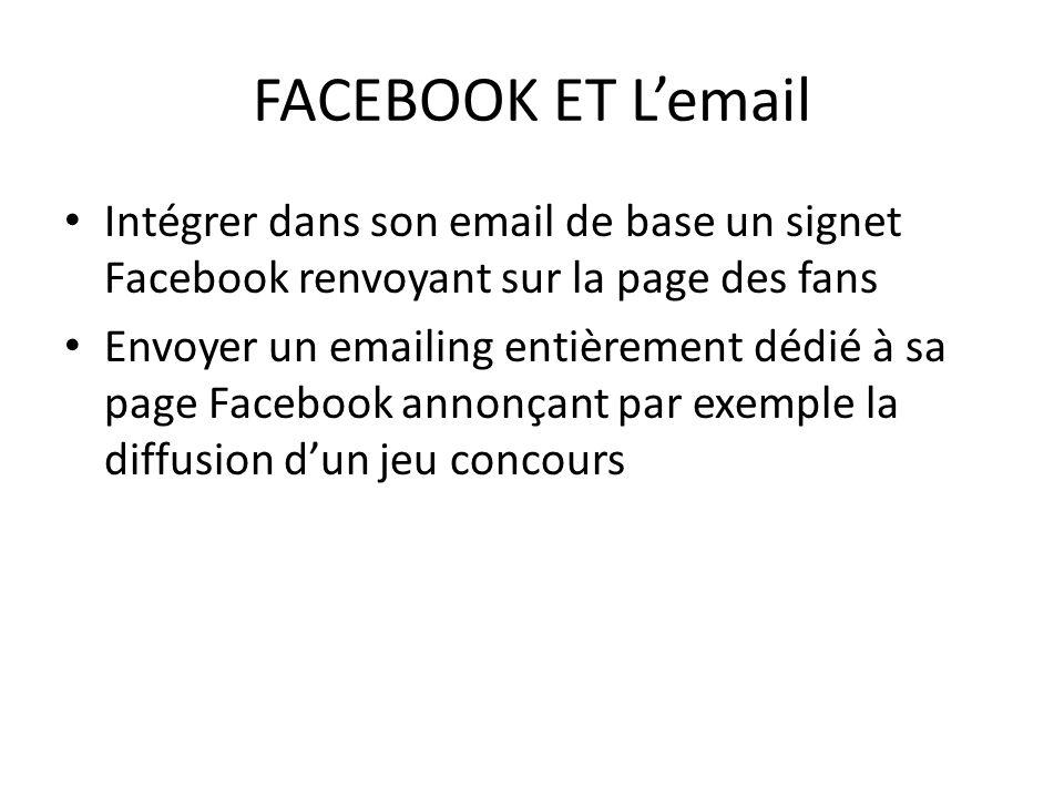 FACEBOOK ET Lemail Intégrer dans son email de base un signet Facebook renvoyant sur la page des fans Envoyer un emailing entièrement dédié à sa page F