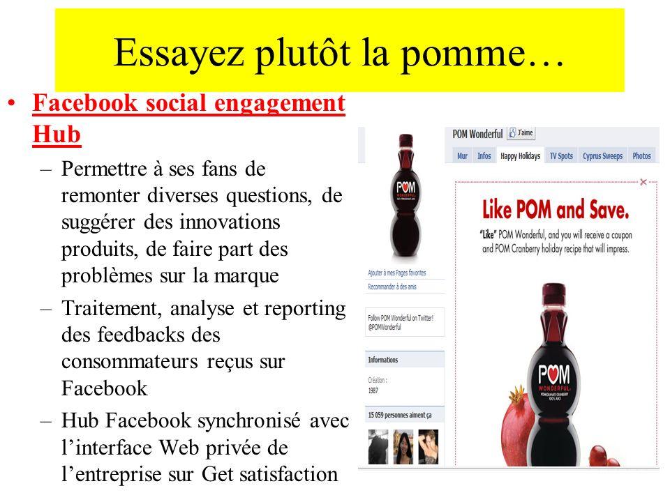 Essayez plutôt la pomme… Facebook social engagement Hub –Permettre à ses fans de remonter diverses questions, de suggérer des innovations produits, de