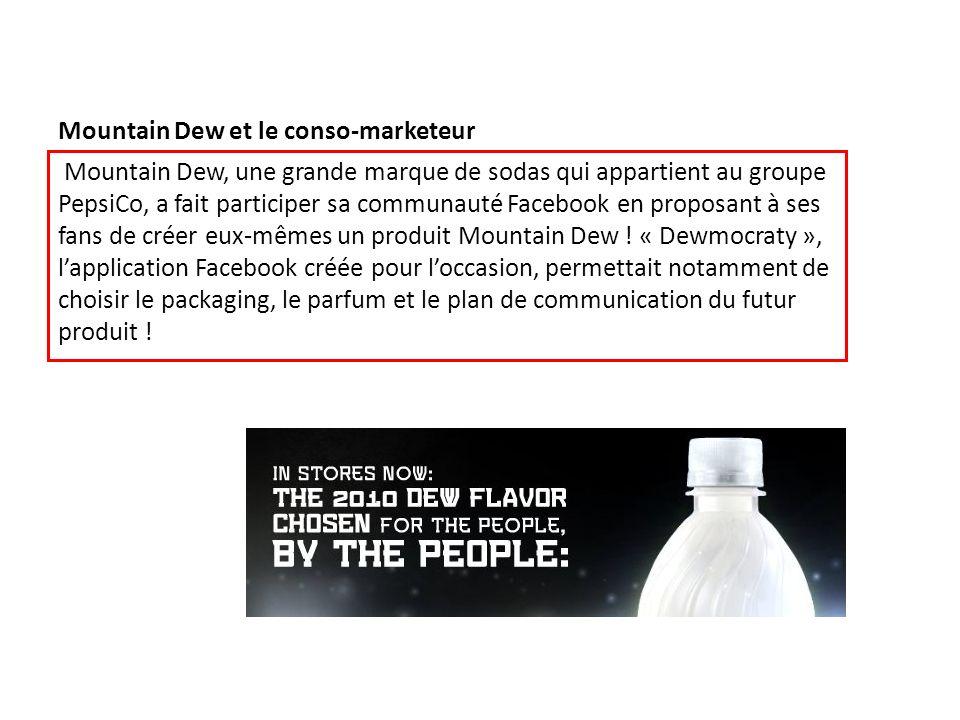 Mountain Dew et le conso-marketeur Mountain Dew, une grande marque de sodas qui appartient au groupe PepsiCo, a fait participer sa communauté Facebook