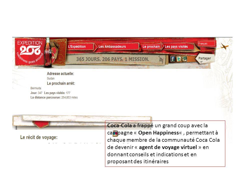 Coca-Cola a frappé un grand coup avec la campagne « Open Happiness«, permettant à chaque membre de la communauté Coca Cola de devenir « agent de voyag