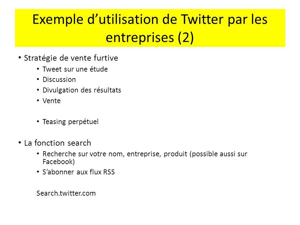 Exemple dutilisation de Twitter par les entreprises (2) Stratégie de vente furtive Tweet sur une étude Discussion Divulgation des résultats Vente Teas