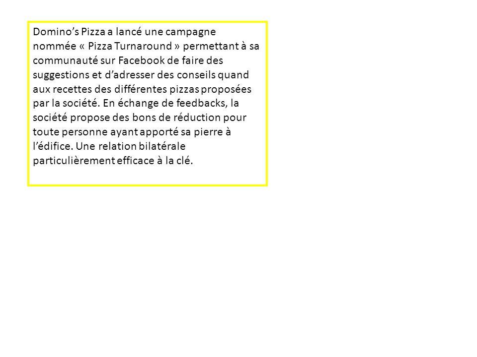 Dominos Pizza a lancé une campagne nommée « Pizza Turnaround » permettant à sa communauté sur Facebook de faire des suggestions et dadresser des conse