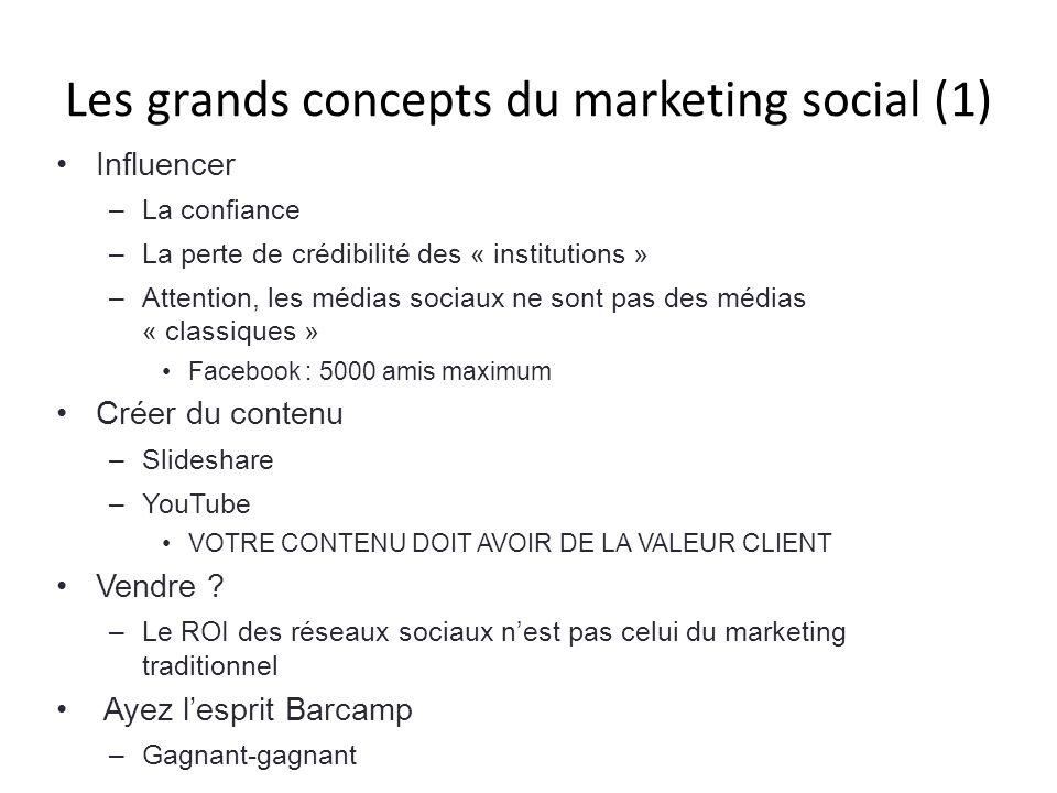 Les grands concepts du marketing social (1) Influencer –La confiance –La perte de crédibilité des « institutions » –Attention, les médias sociaux ne s