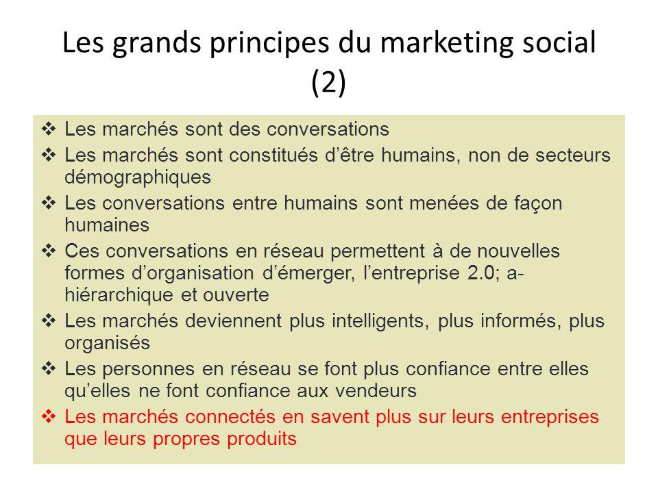 Les grands principes du marketing social (2) Les marchés sont des conversations Les marchés sont constitués dêtre humains, non de secteurs démographiq