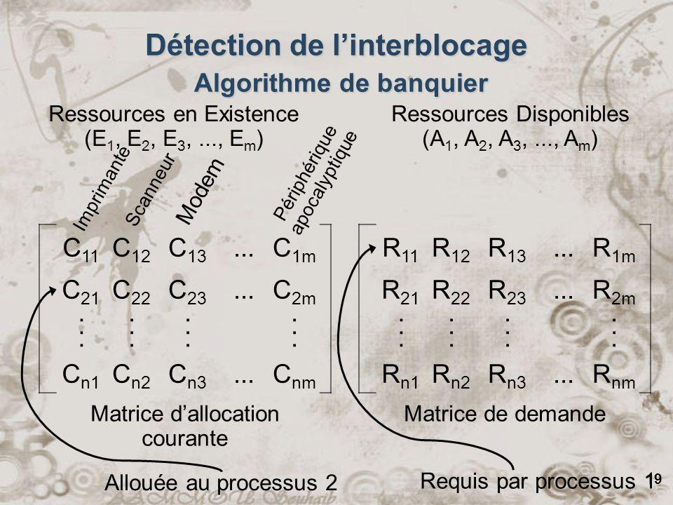 19 Requis par processus 1 C 11 C 12 C 13...C 1m C 21 C 22 C 23...C 2m........................ C n1 C n2 C n3...C nm R 11 R 12 R 13...R 1m R 21 R 22 R