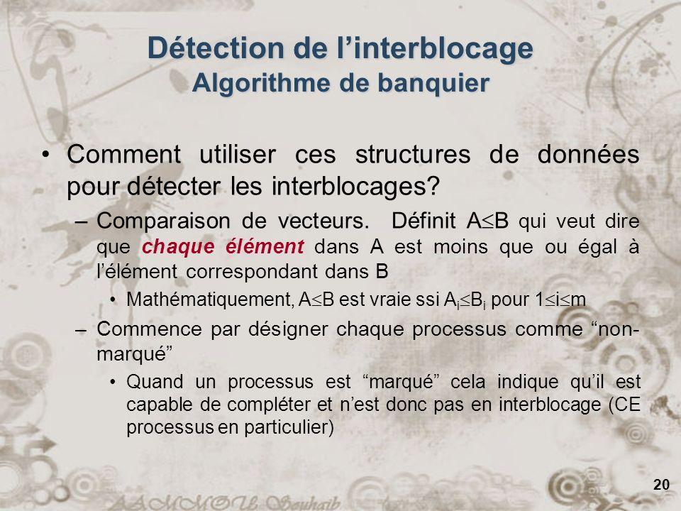 20 Détection de linterblocage Algorithme de banquier Comment utiliser ces structures de données pour détecter les interblocages? –Comparaison de vecte