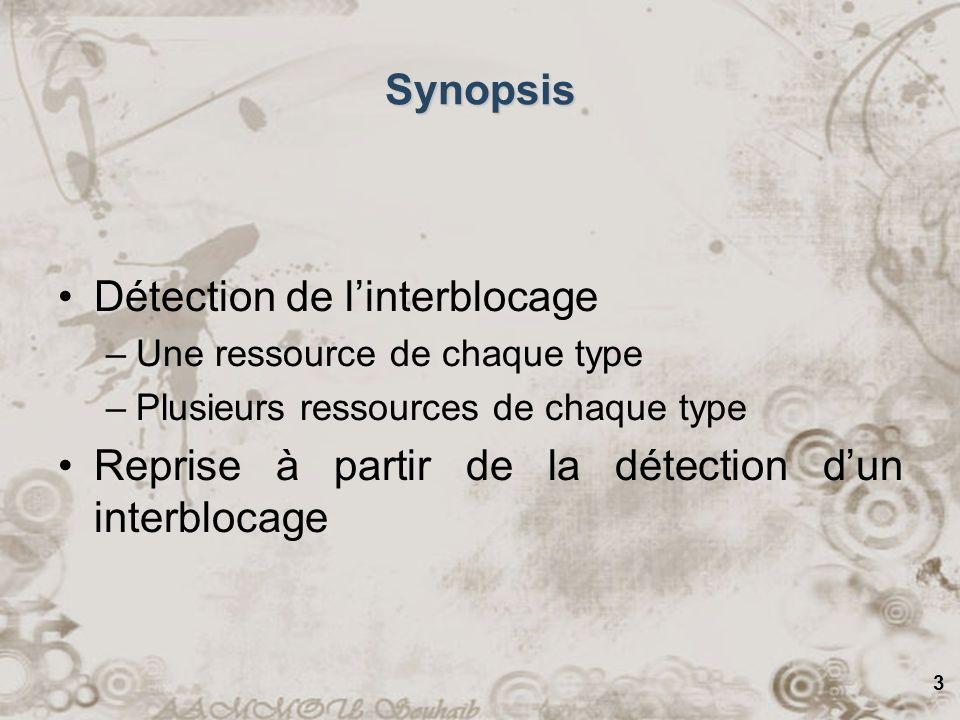3 Synopsis Détection de linterblocage –Une ressource de chaque type –Plusieurs ressources de chaque type Reprise à partir de la détection dun interblo