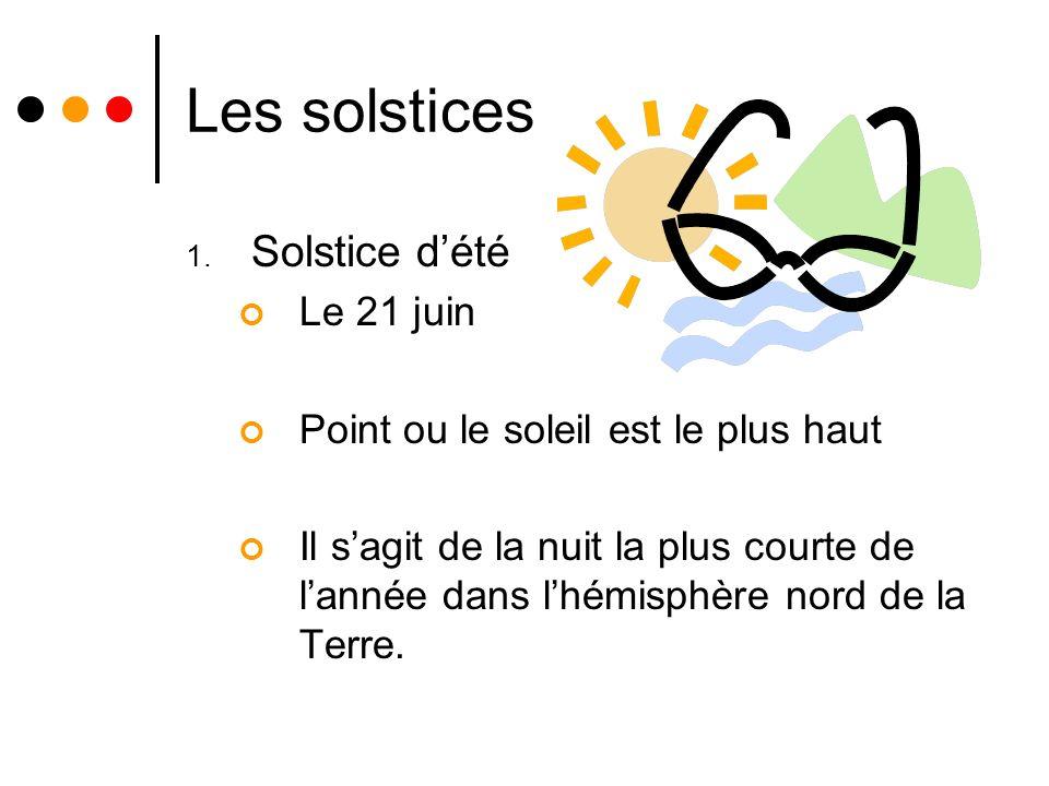 Les solstices 1. Solstice dété Le 21 juin Point ou le soleil est le plus haut Il sagit de la nuit la plus courte de lannée dans lhémisphère nord de la