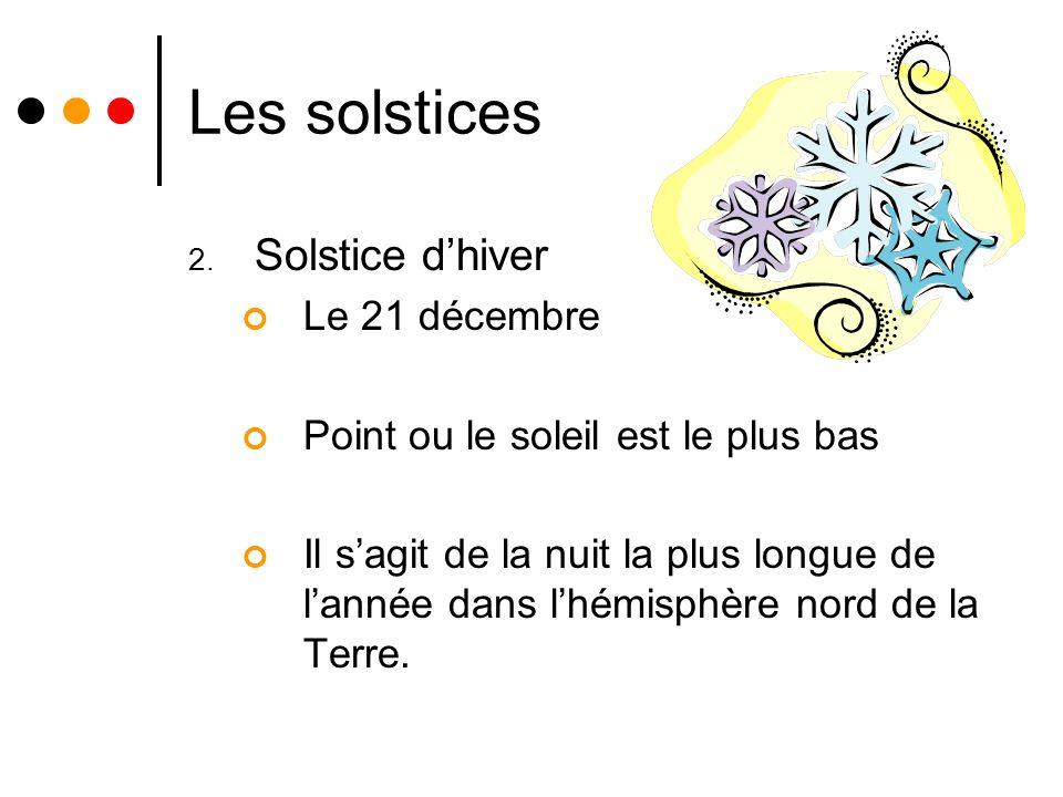 Les solstices 2. Solstice dhiver Le 21 décembre Point ou le soleil est le plus bas Il sagit de la nuit la plus longue de lannée dans lhémisphère nord