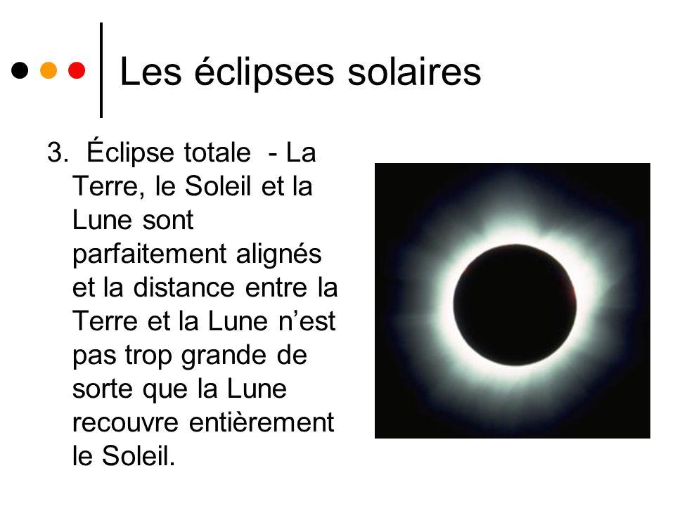 Les éclipses solaires 3. Éclipse totale - La Terre, le Soleil et la Lune sont parfaitement alignés et la distance entre la Terre et la Lune nest pas t