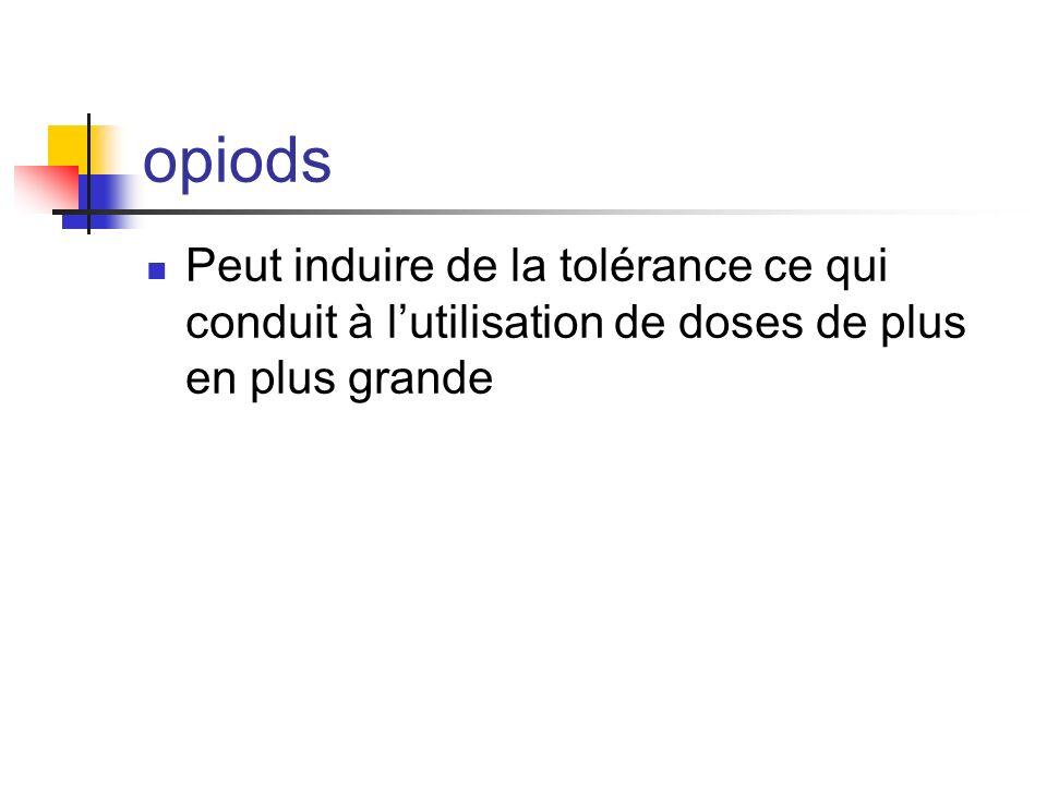 opiods Peut induire de la tolérance ce qui conduit à lutilisation de doses de plus en plus grande