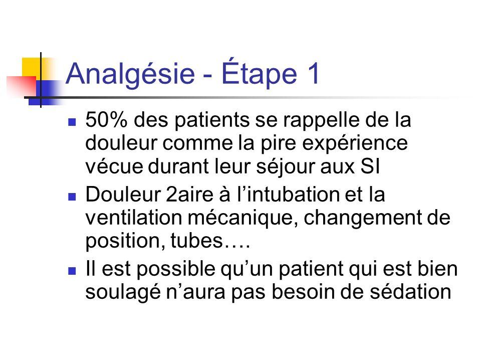 Analgésie - Étape 1 50% des patients se rappelle de la douleur comme la pire expérience vécue durant leur séjour aux SI Douleur 2aire à lintubation et