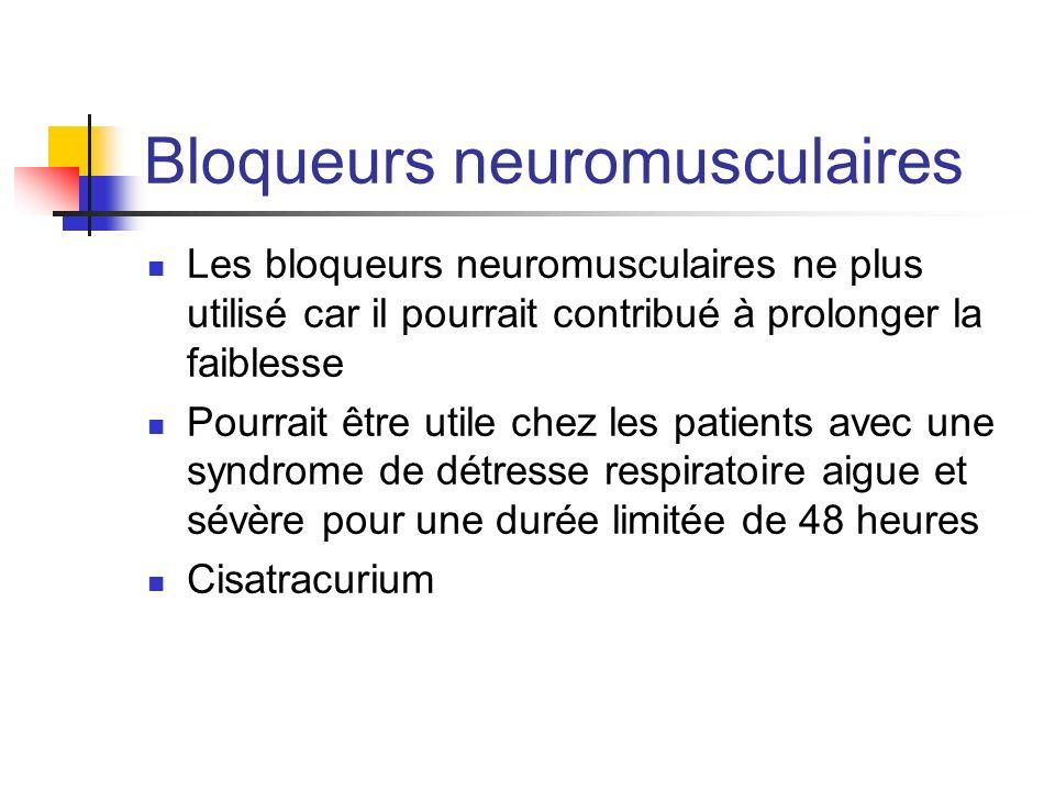 Bloqueurs neuromusculaires Les bloqueurs neuromusculaires ne plus utilisé car il pourrait contribué à prolonger la faiblesse Pourrait être utile chez
