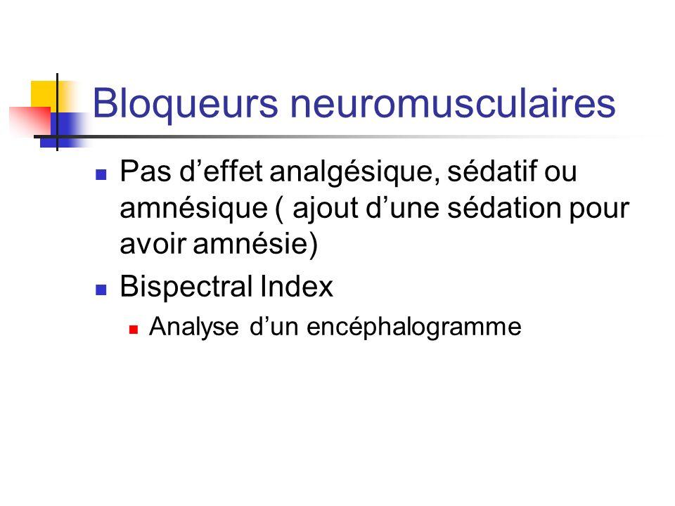 Bloqueurs neuromusculaires Pas deffet analgésique, sédatif ou amnésique ( ajout dune sédation pour avoir amnésie) Bispectral Index Analyse dun encépha