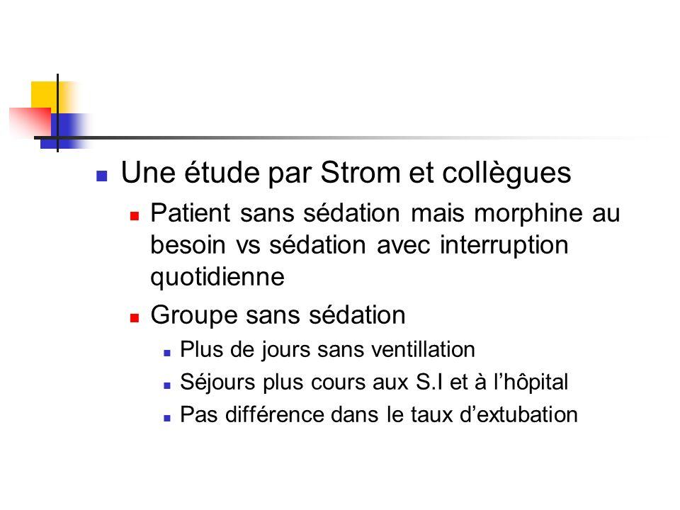 Une étude par Strom et collègues Patient sans sédation mais morphine au besoin vs sédation avec interruption quotidienne Groupe sans sédation Plus de