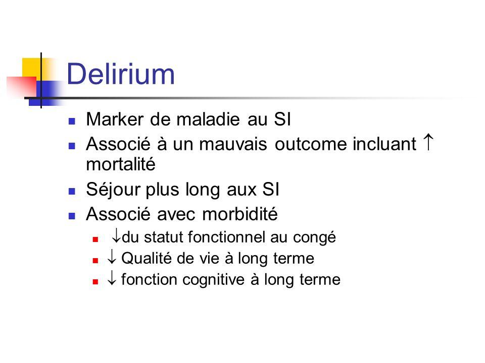 Delirium Marker de maladie au SI Associé à un mauvais outcome incluant mortalité Séjour plus long aux SI Associé avec morbidité du statut fonctionnel