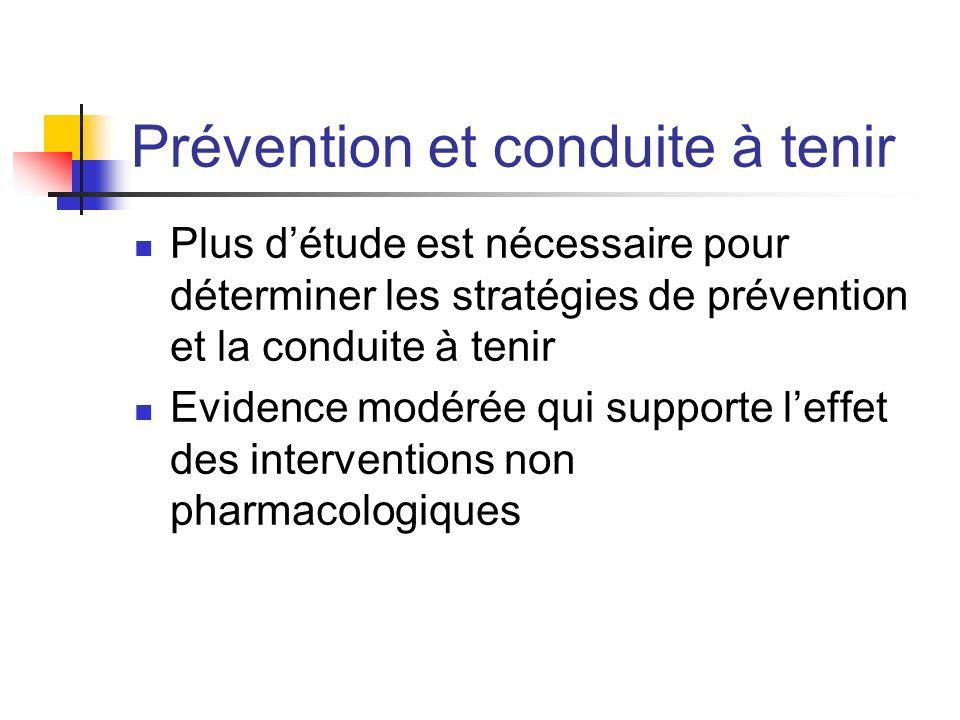 Prévention et conduite à tenir Plus détude est nécessaire pour déterminer les stratégies de prévention et la conduite à tenir Evidence modérée qui sup