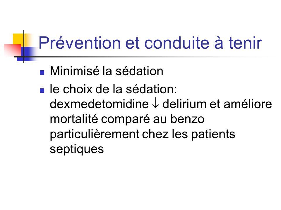Prévention et conduite à tenir Minimisé la sédation le choix de la sédation: dexmedetomidine delirium et améliore mortalité comparé au benzo particuli