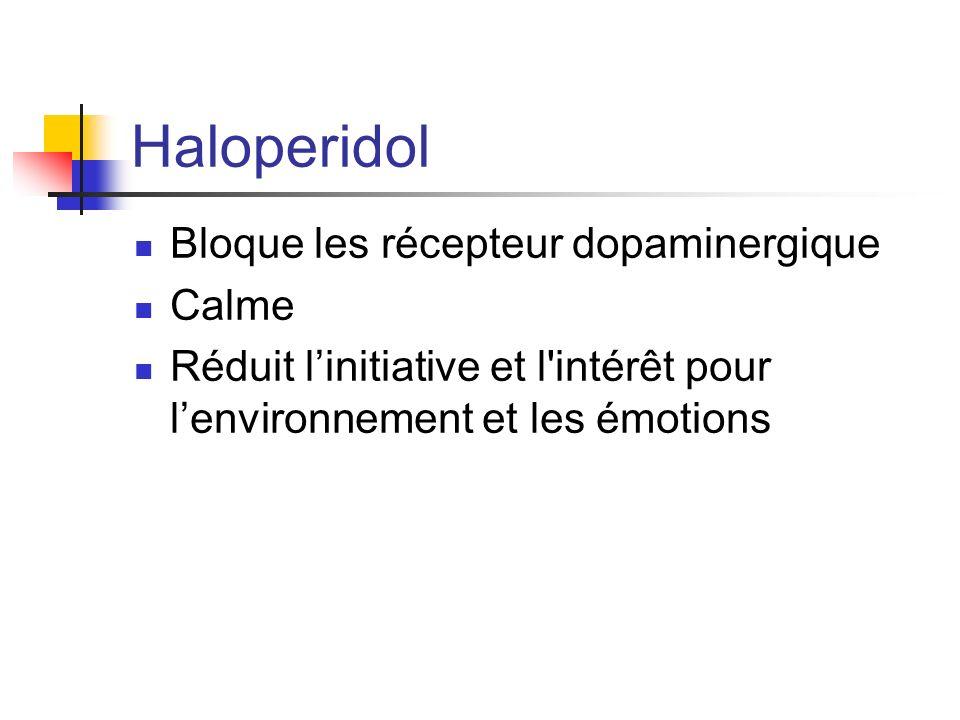 Haloperidol Bloque les récepteur dopaminergique Calme Réduit linitiative et l'intérêt pour lenvironnement et les émotions