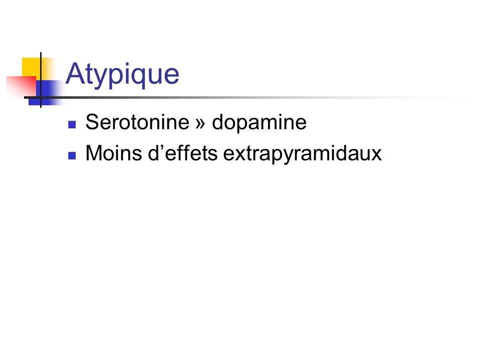 Atypique Serotonine » dopamine Moins deffets extrapyramidaux