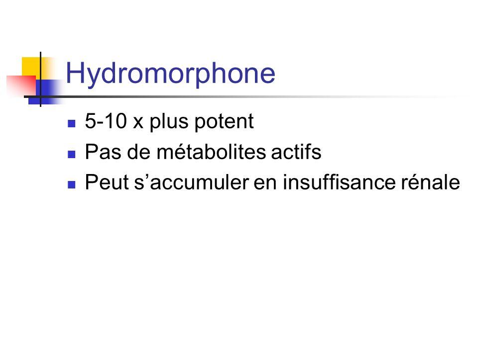 Hydromorphone 5-10 x plus potent Pas de métabolites actifs Peut saccumuler en insuffisance rénale