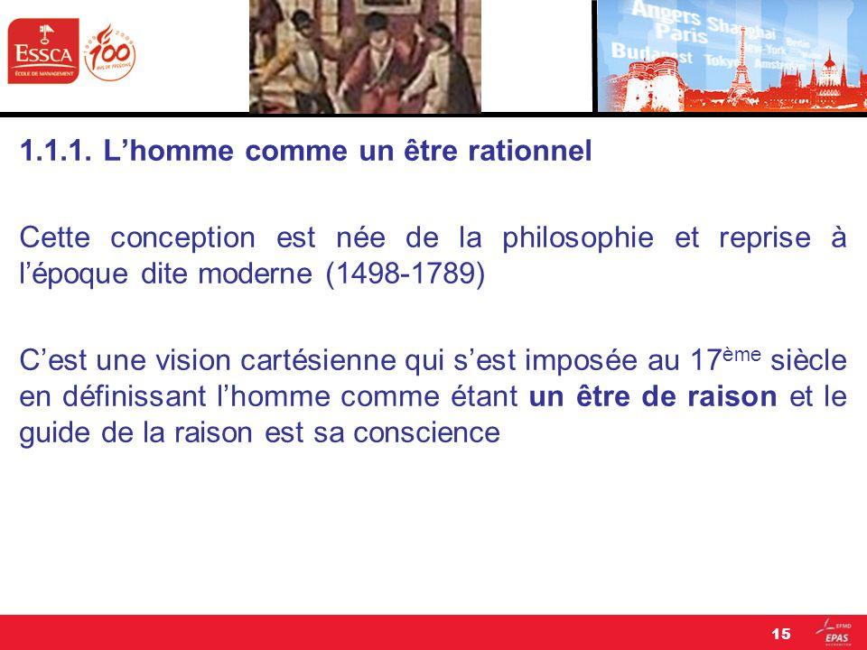 1.1.1. Lhomme comme un être rationnel Cette conception est née de la philosophie et reprise à lépoque dite moderne (1498-1789) Cest une vision cartési