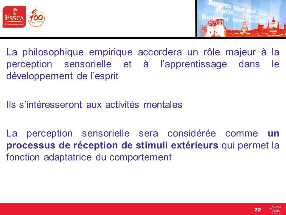La philosophique empirique accordera un rôle majeur à la perception sensorielle et à lapprentissage dans le développement de lesprit Ils sintéresseron