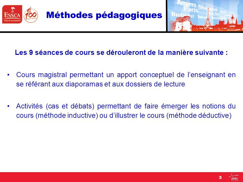 Méthodes pédagogiques Les 9 séances de cours se dérouleront de la manière suivante : Cours magistral permettant un apport conceptuel de lenseignant en