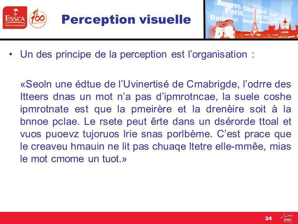 Perception visuelle Un des principe de la perception est lorganisation : «Seoln une édtue de lUvinertisé de Cmabrigde, lodrre des Itteers dnas un mot