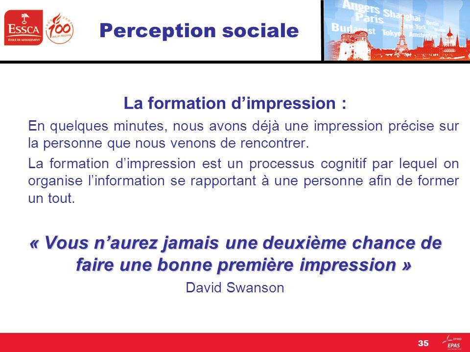 Perception sociale La formation dimpression : En quelques minutes, nous avons déjà une impression précise sur la personne que nous venons de rencontre