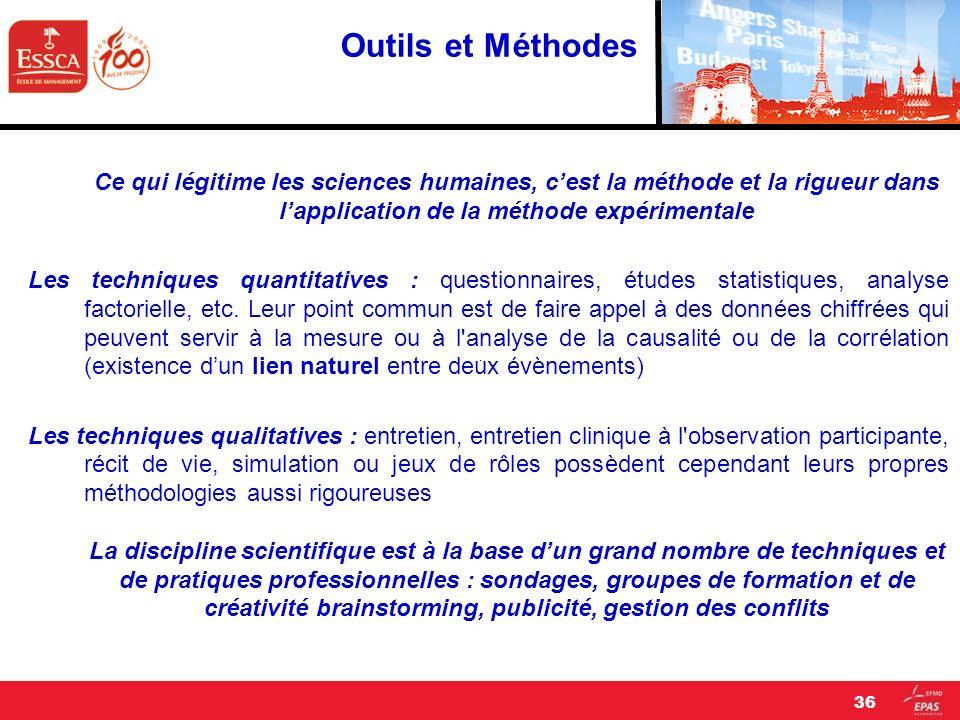 Outils et Méthodes Ce qui légitime les sciences humaines, cest la méthode et la rigueur dans lapplication de la méthode expérimentale Les techniques q
