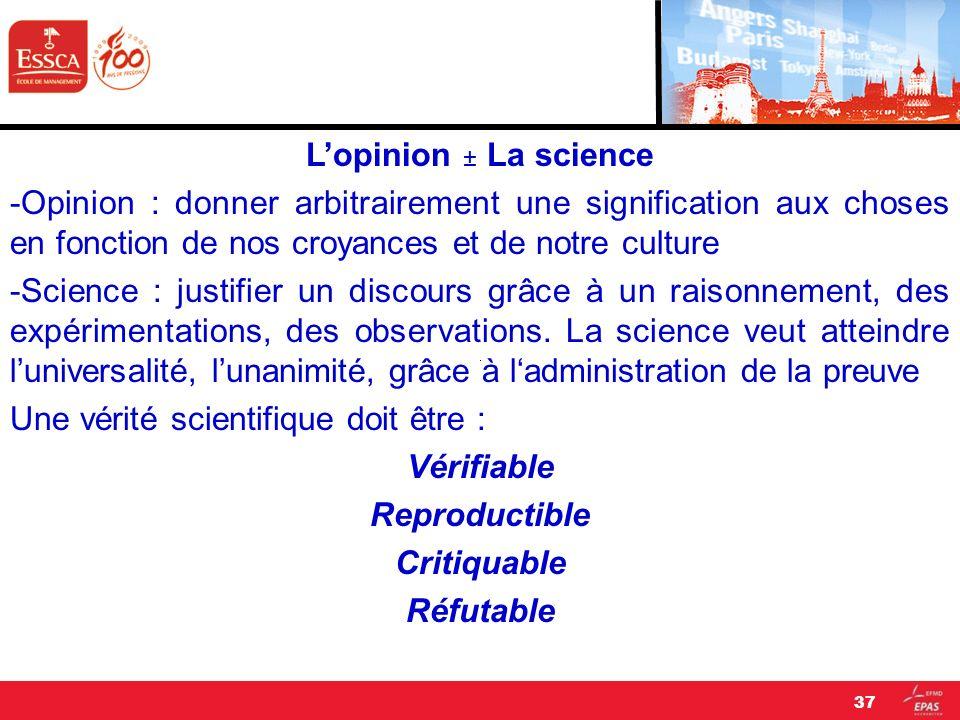 Lopinion ± La science -Opinion : donner arbitrairement une signification aux choses en fonction de nos croyances et de notre culture -Science : justif