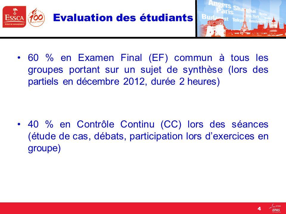 Evaluation des étudiants 60 % en Examen Final (EF) commun à tous les groupes portant sur un sujet de synthèse (lors des partiels en décembre 2012, dur