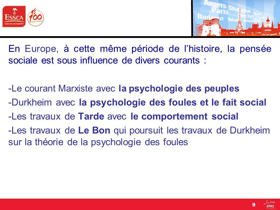 En Europe, à cette même période de lhistoire, la pensée sociale est sous influence de divers courants : - Le courant Marxiste avec la psychologie des