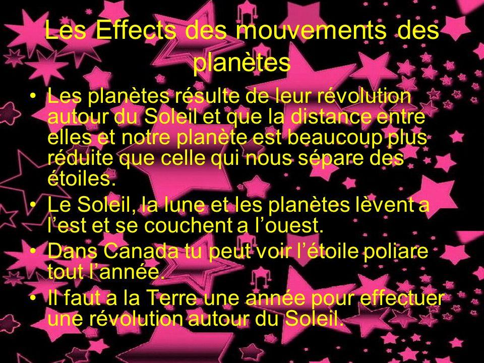 Les Effects des mouvements des planètes Les planètes résulte de leur révolution autour du Soleil et que la distance entre elles et notre planète est b