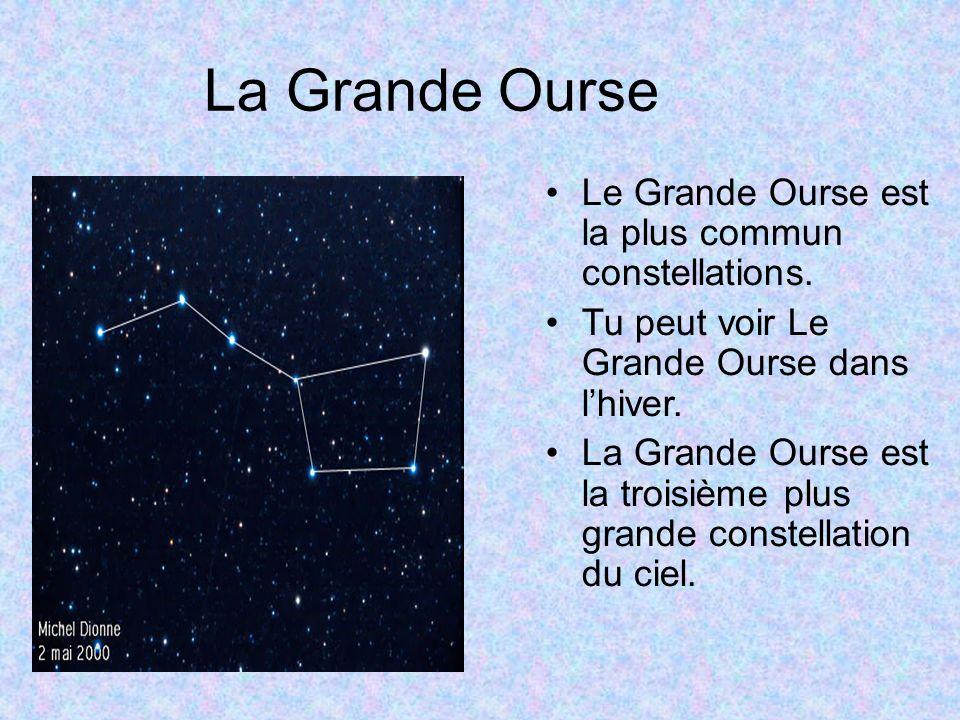 La Grande Ourse Le Grande Ourse est la plus commun constellations. Tu peut voir Le Grande Ourse dans lhiver. La Grande Ourse est la troisième plus gra