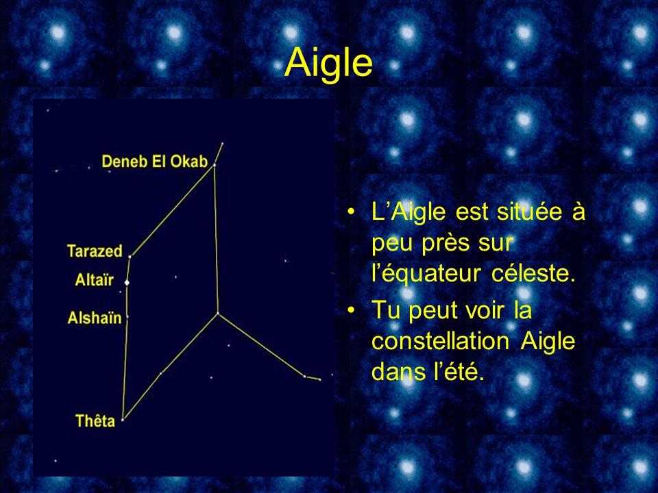 Aigle LAigle est située à peu près sur léquateur céleste. Tu peut voir la constellation Aigle dans lété.