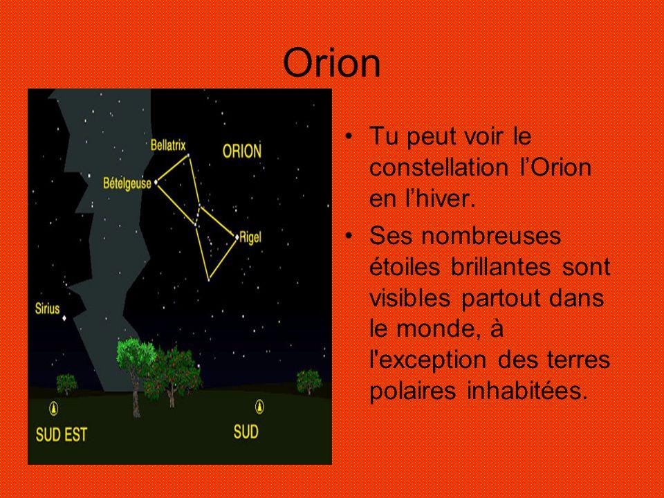Orion Tu peut voir le constellation lOrion en lhiver. Ses nombreuses étoiles brillantes sont visibles partout dans le monde, à l'exception des terres