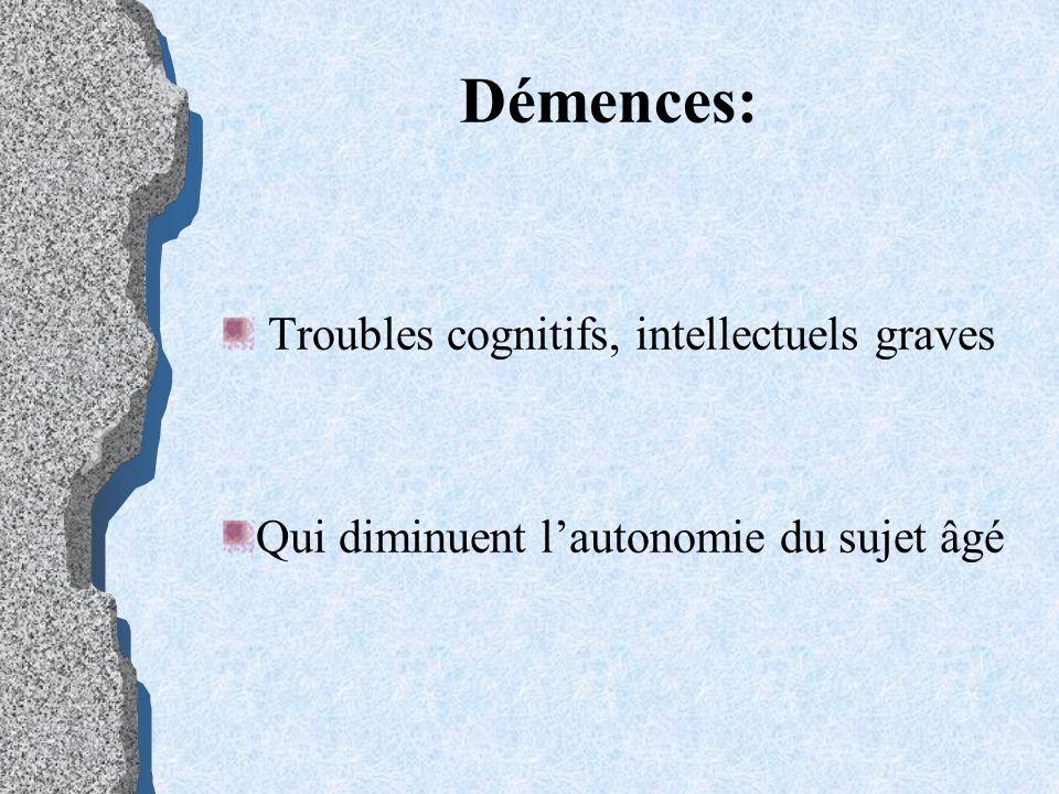 Démences: Troubles cognitifs, intellectuels graves Qui diminuent lautonomie du sujet âgé