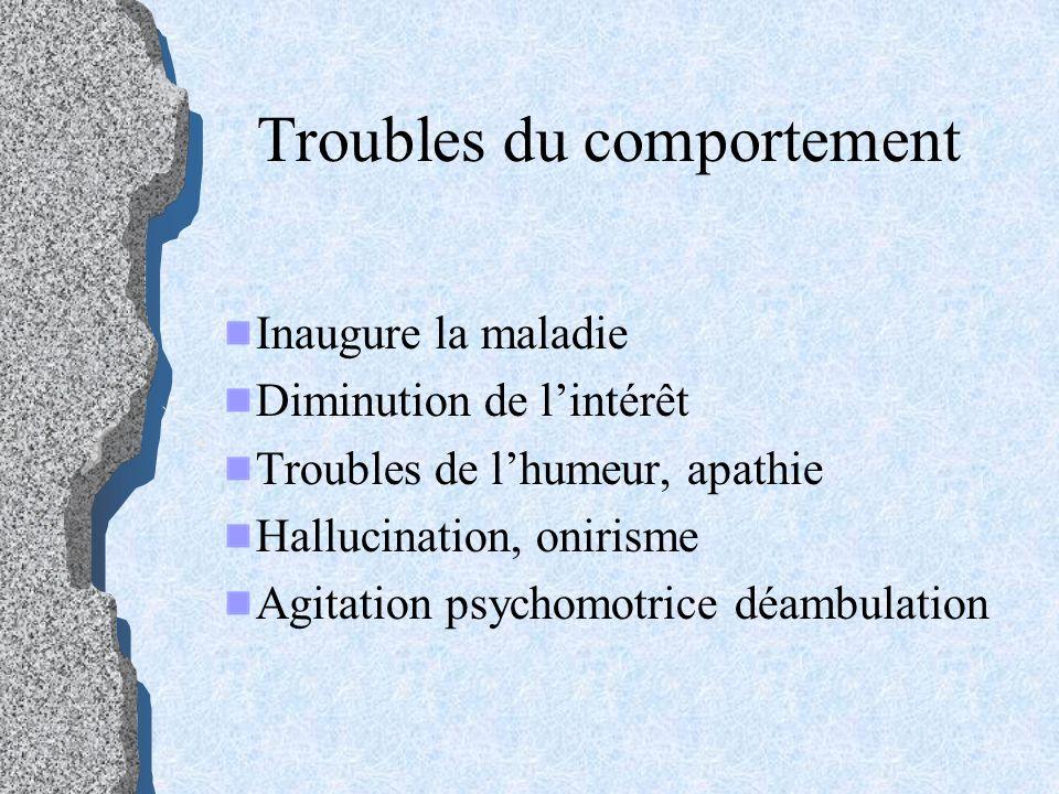 Troubles du comportement Inaugure la maladie Diminution de lintérêt Troubles de lhumeur, apathie Hallucination, onirisme Agitation psychomotrice déamb
