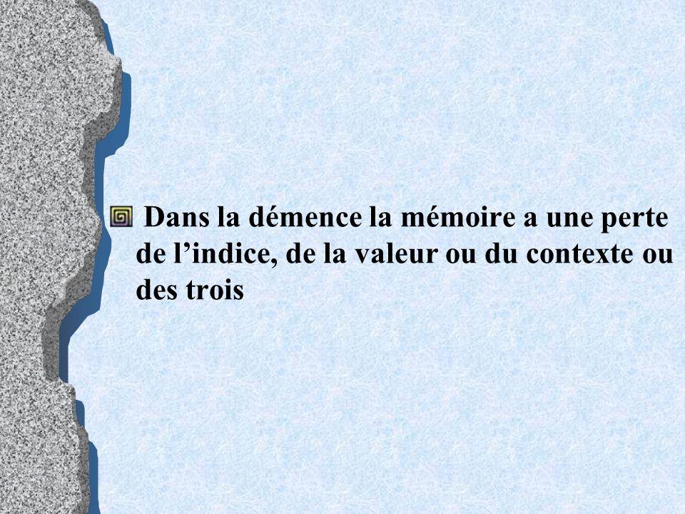 Dans la démence la mémoire a une perte de lindice, de la valeur ou du contexte ou des trois
