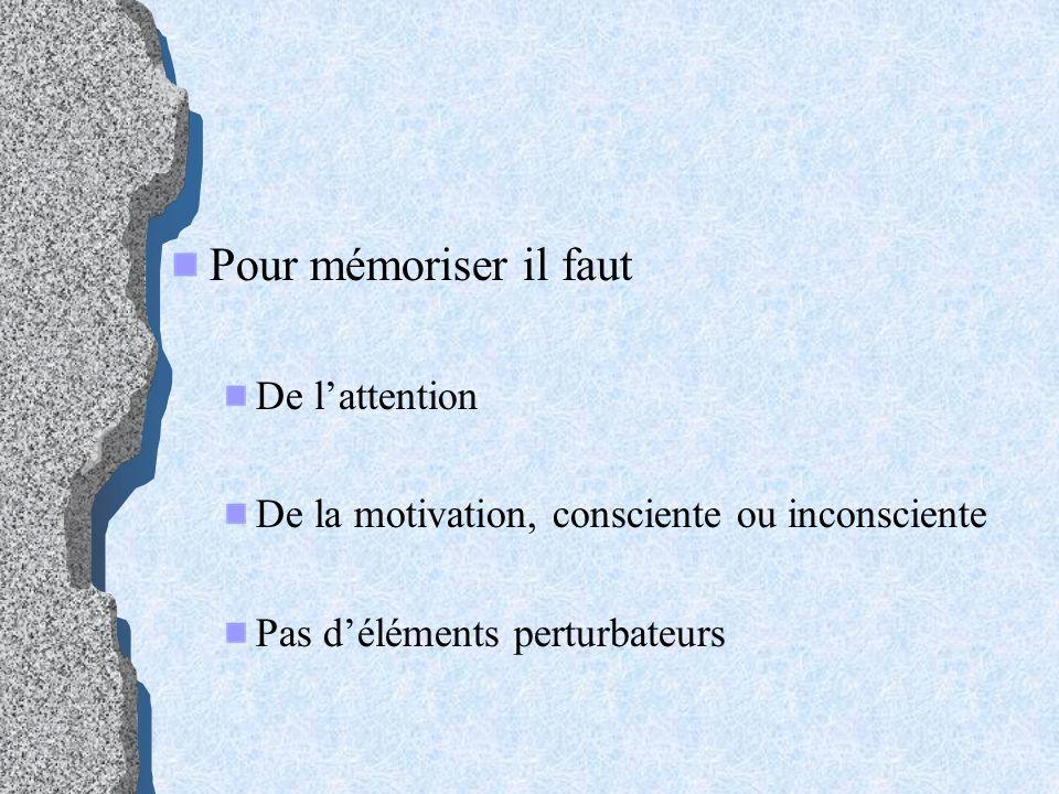 Pour mémoriser il faut De lattention De la motivation, consciente ou inconsciente Pas déléments perturbateurs