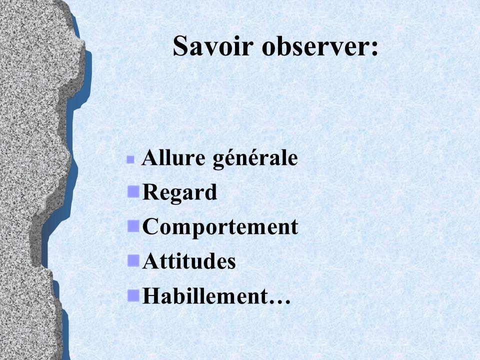Savoir observer: Allure générale Regard Comportement Attitudes Habillement…