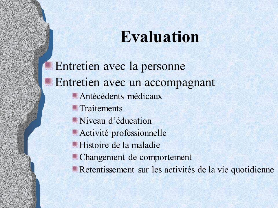 Evaluation Entretien avec la personne Entretien avec un accompagnant Antécédents médicaux Traitements Niveau déducation Activité professionnelle Histo